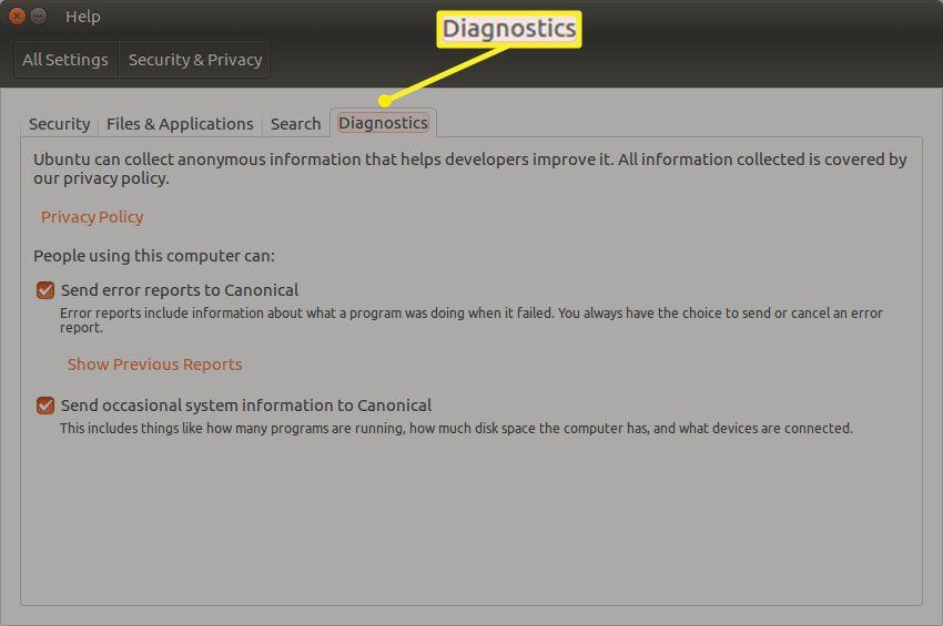 The Diagnostics tab in Diagnostics tab in Ubuntu Security & Privacy