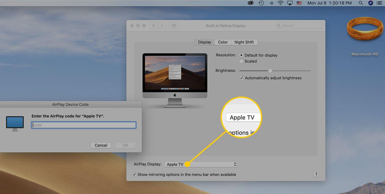 AirPlay Display menu in settings on macOS