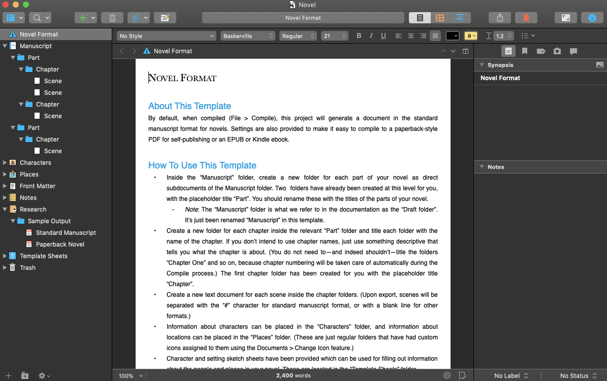 Scrivener novel creation template on desktop
