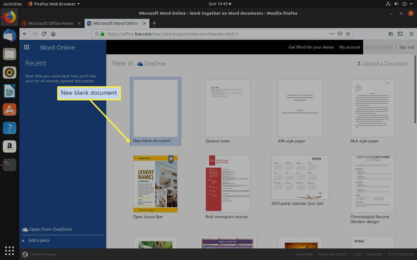 Create a new Word document with Office