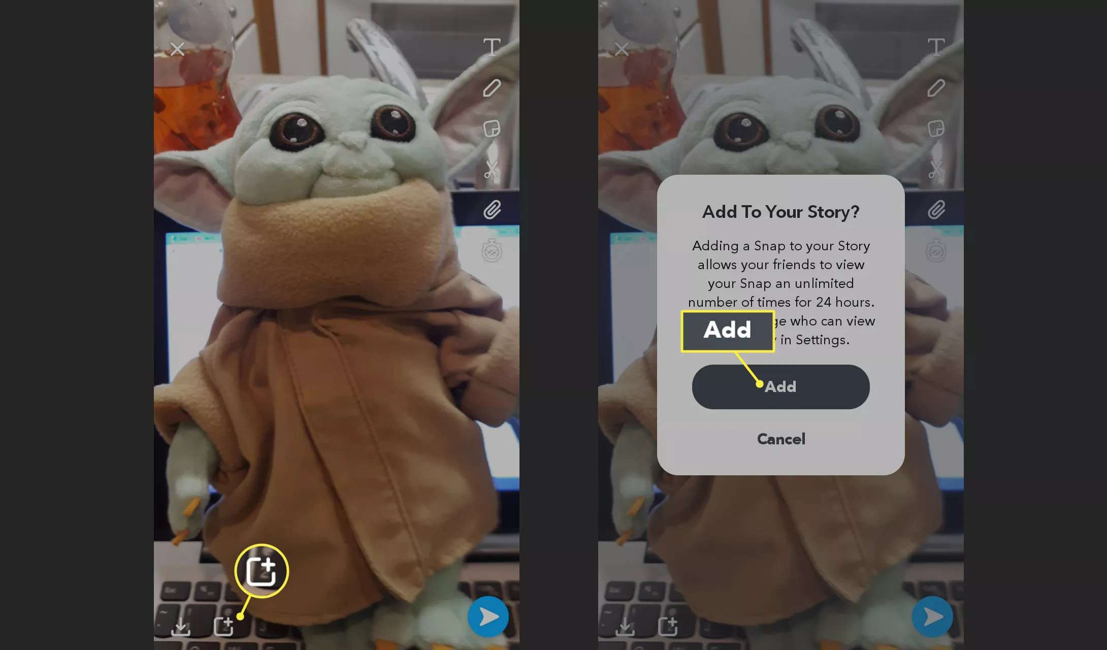 Add a snap to your Snapchat story