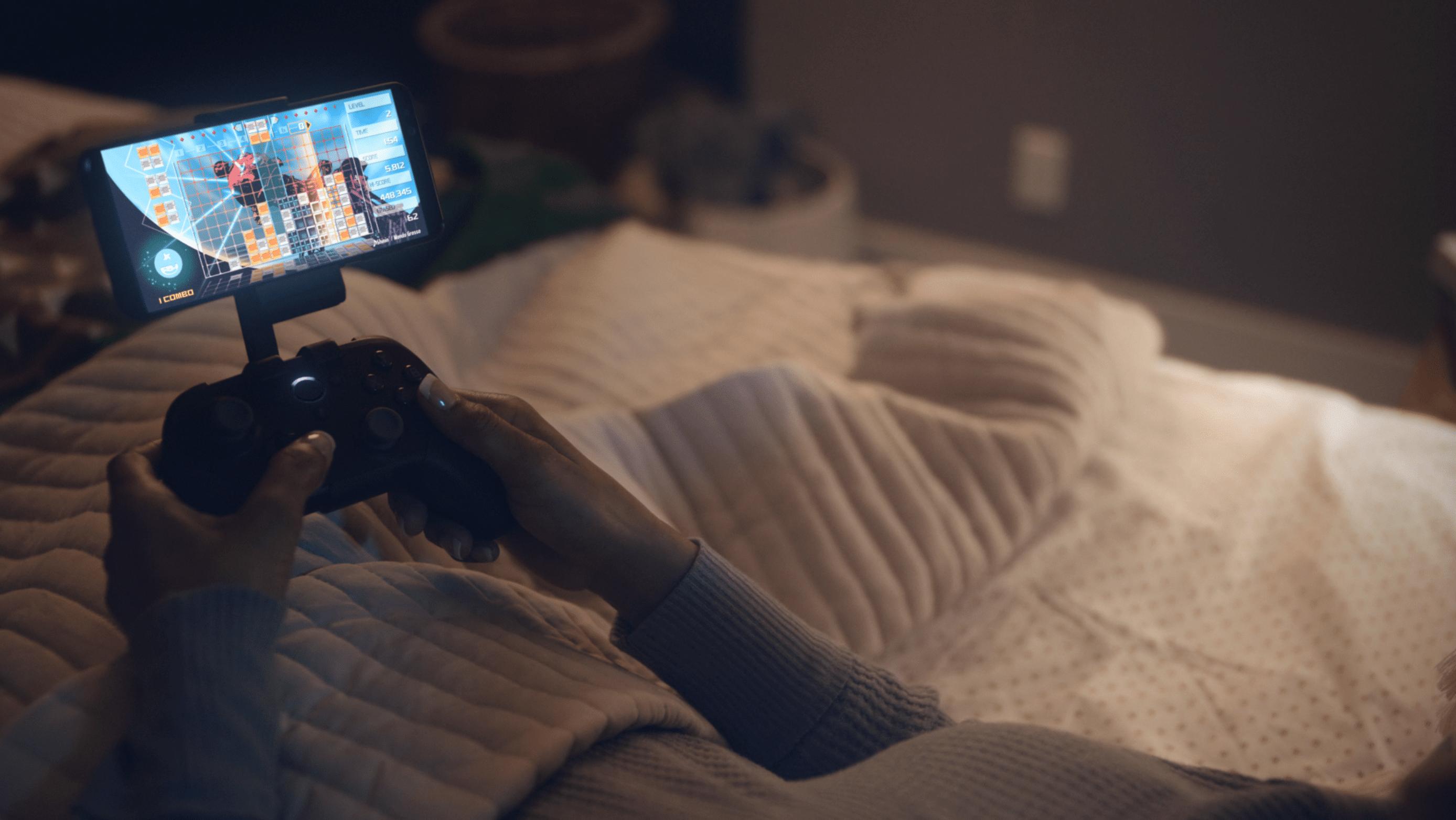 Playing Amazon Luna on a phone.