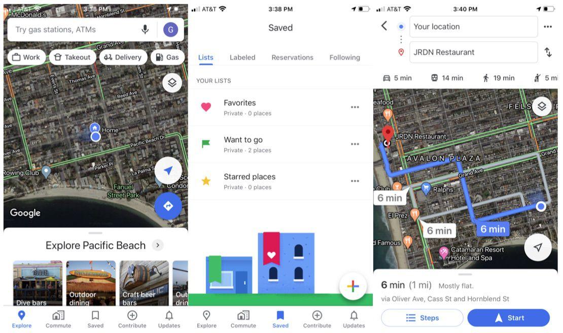 Google Maps travel app