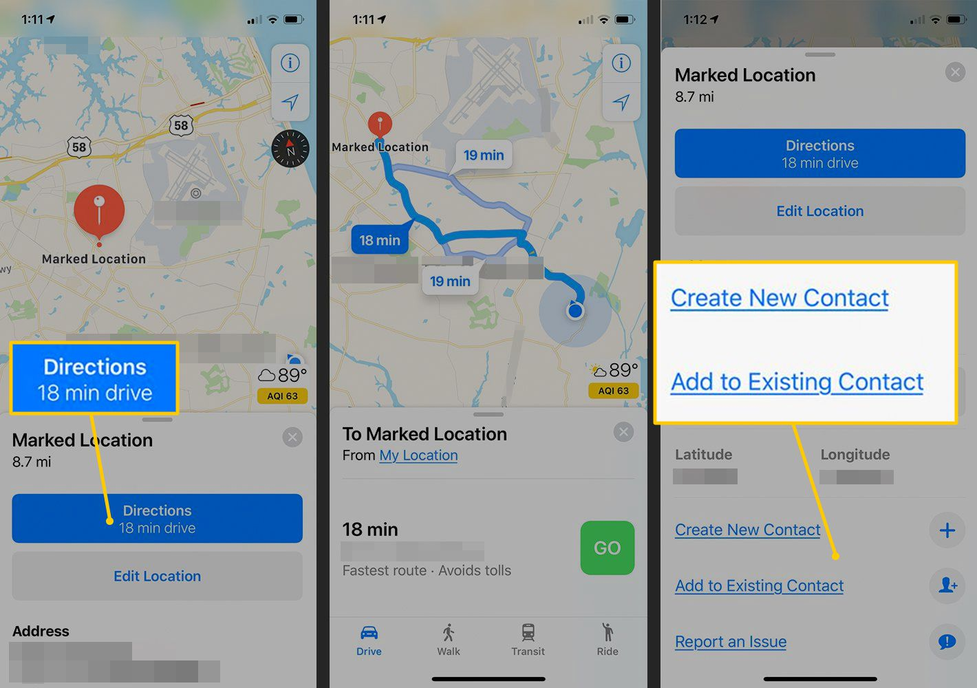 Directions button, Create New/Add to Existing Contact in iOS Maps