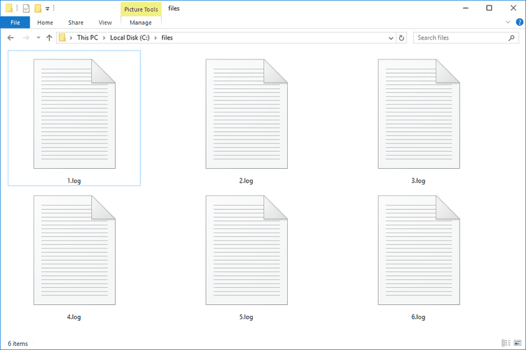 Screenshot of several LOG files in Windows 10