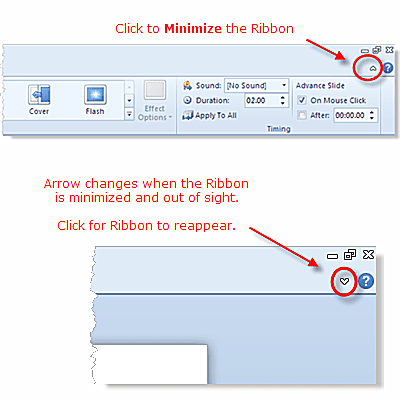 Minimize the Ribbon button is new to PowerPoint 2010 (Beta)