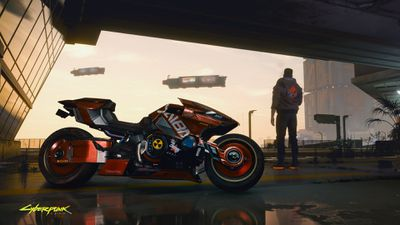 Cyberpunk 2077 character taking a break next to their motorcycle