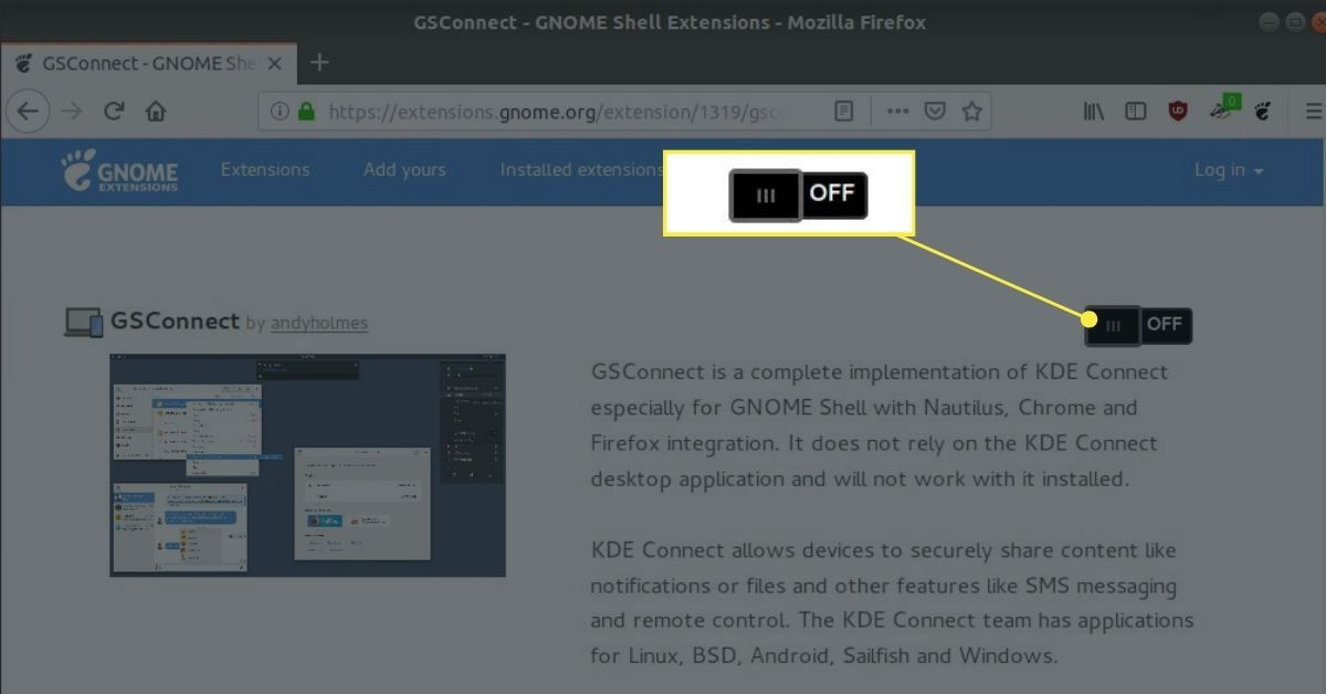 GSConnect software on GNOME