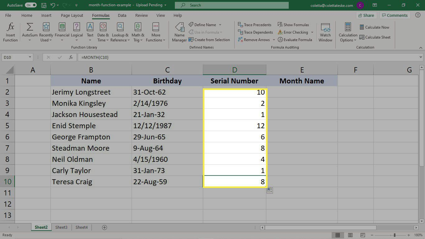 The results of filling the MONTH function in Excel