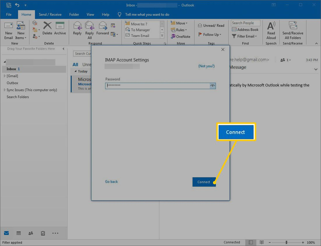 Connect button in IMAP Account Settings in Outlook.