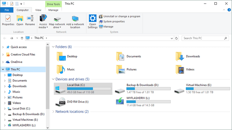 How to check free hard drive space windows 10 8 7 screenshot of the this pc area of windows explorer in windows 10 once place to ccuart Image collections