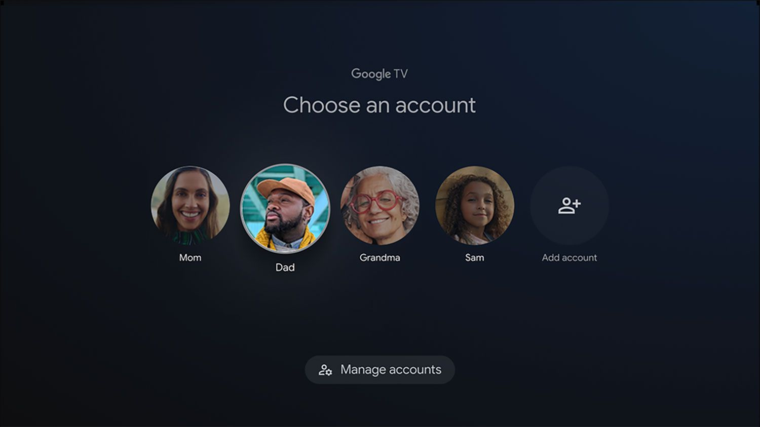 The account selection screen on Google TV
