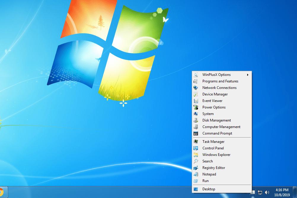 WinPlusX menu in Windows 7