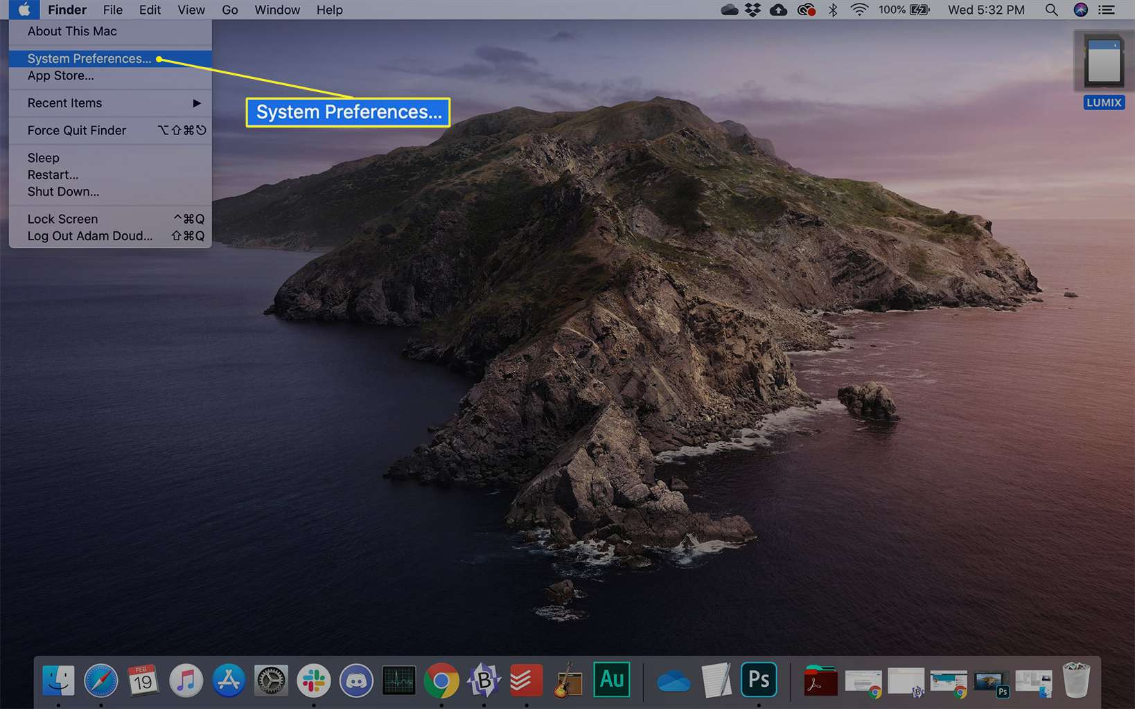 System Preferences highlighted in the Apple menu on a Mac