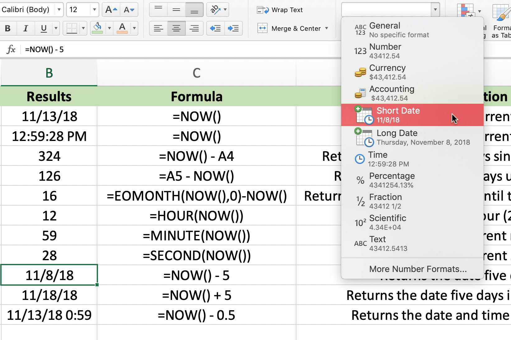 Excel's Volatile NOW Function For The Data and Time