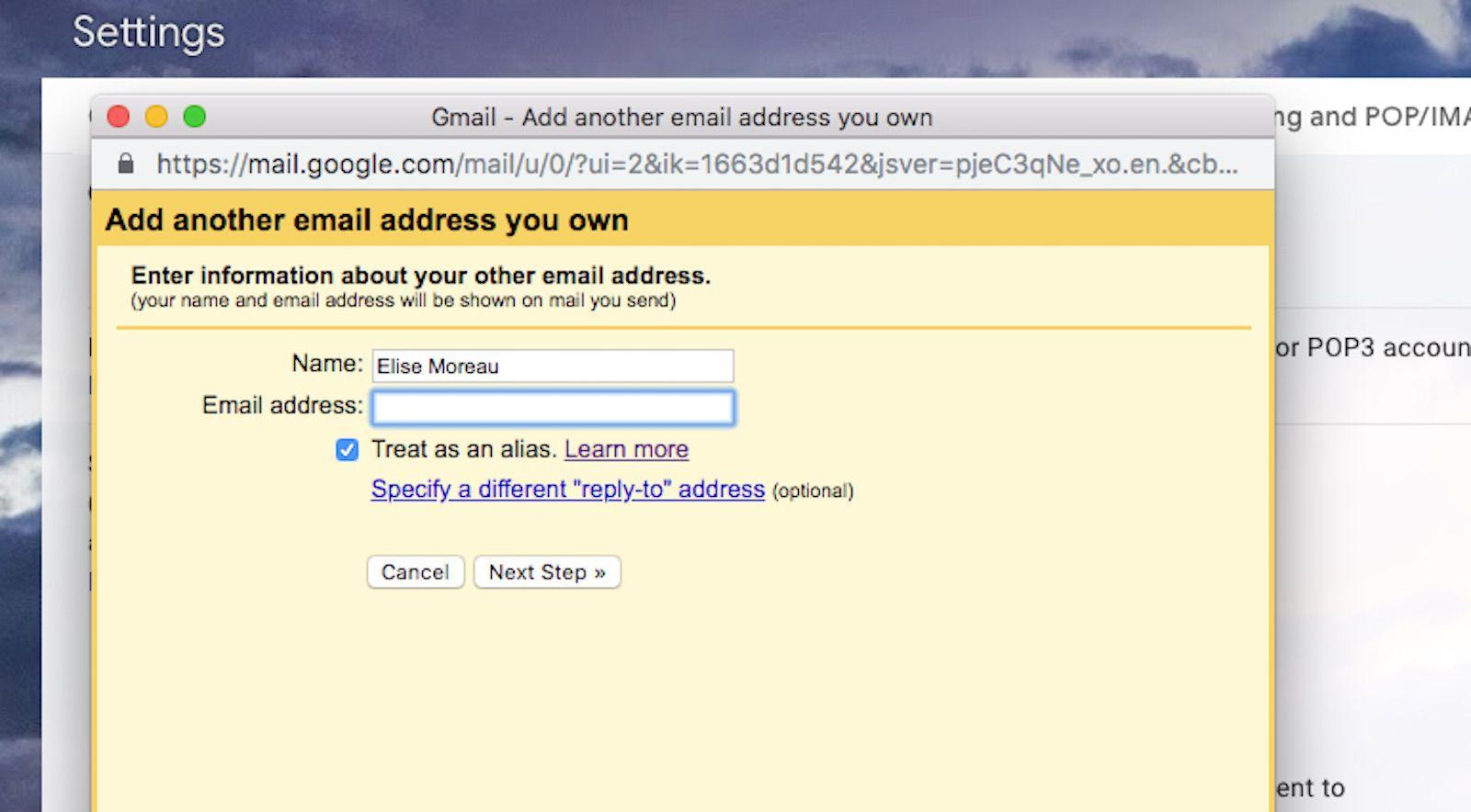 A screenshot of Gmail.com.