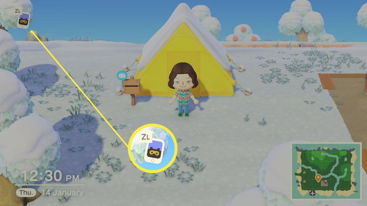 Animal Crossing: New Horizons with Nook Phone highlighted