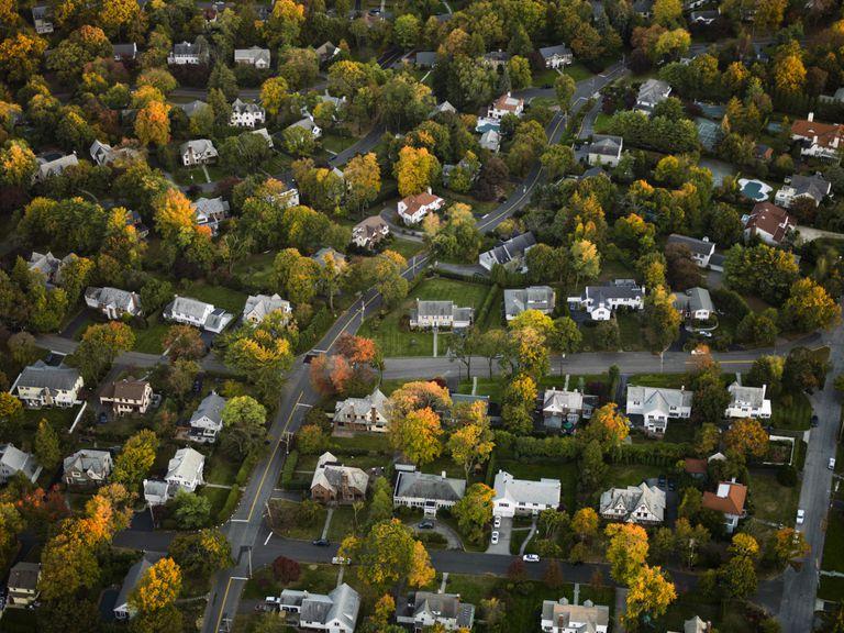Aerial shot of suburban neighborhood