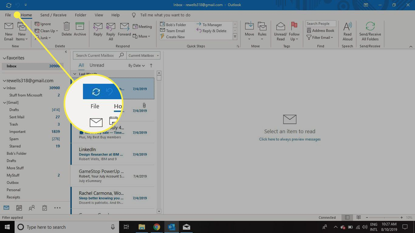 The File tab in Outlook.