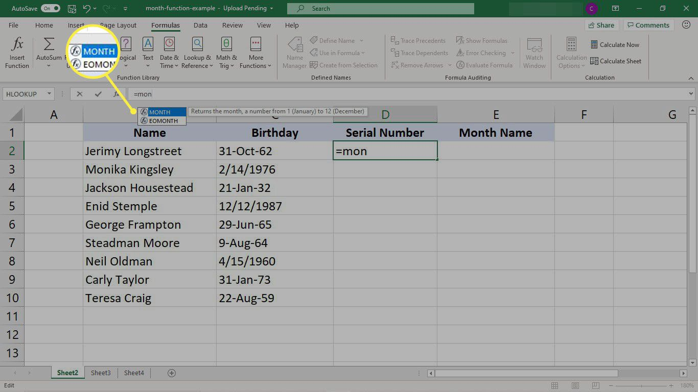 Dataset to extract the serial month number from a column of dates