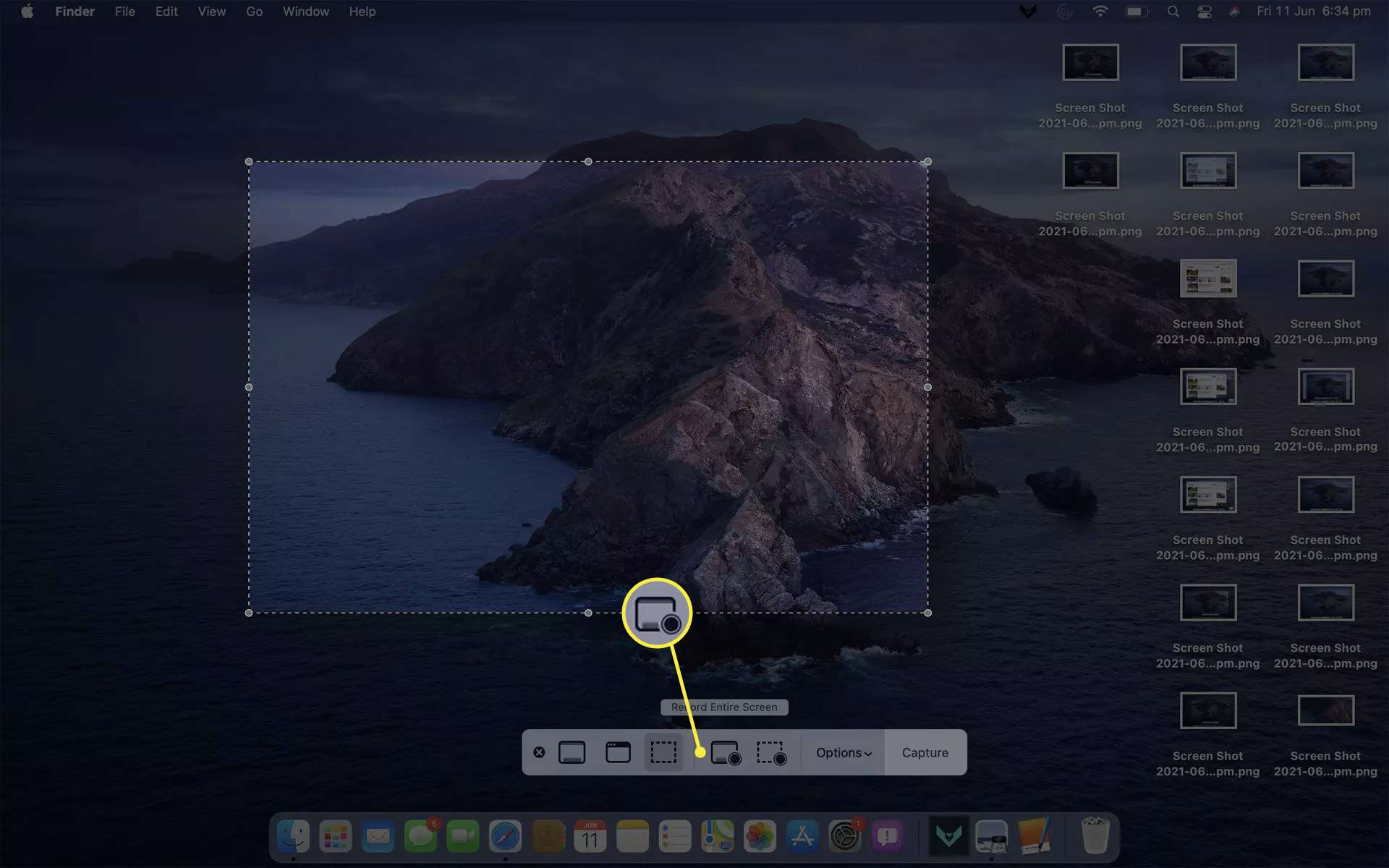 Mac screenshot app on MacBook Air with Record Entire Screen option selected