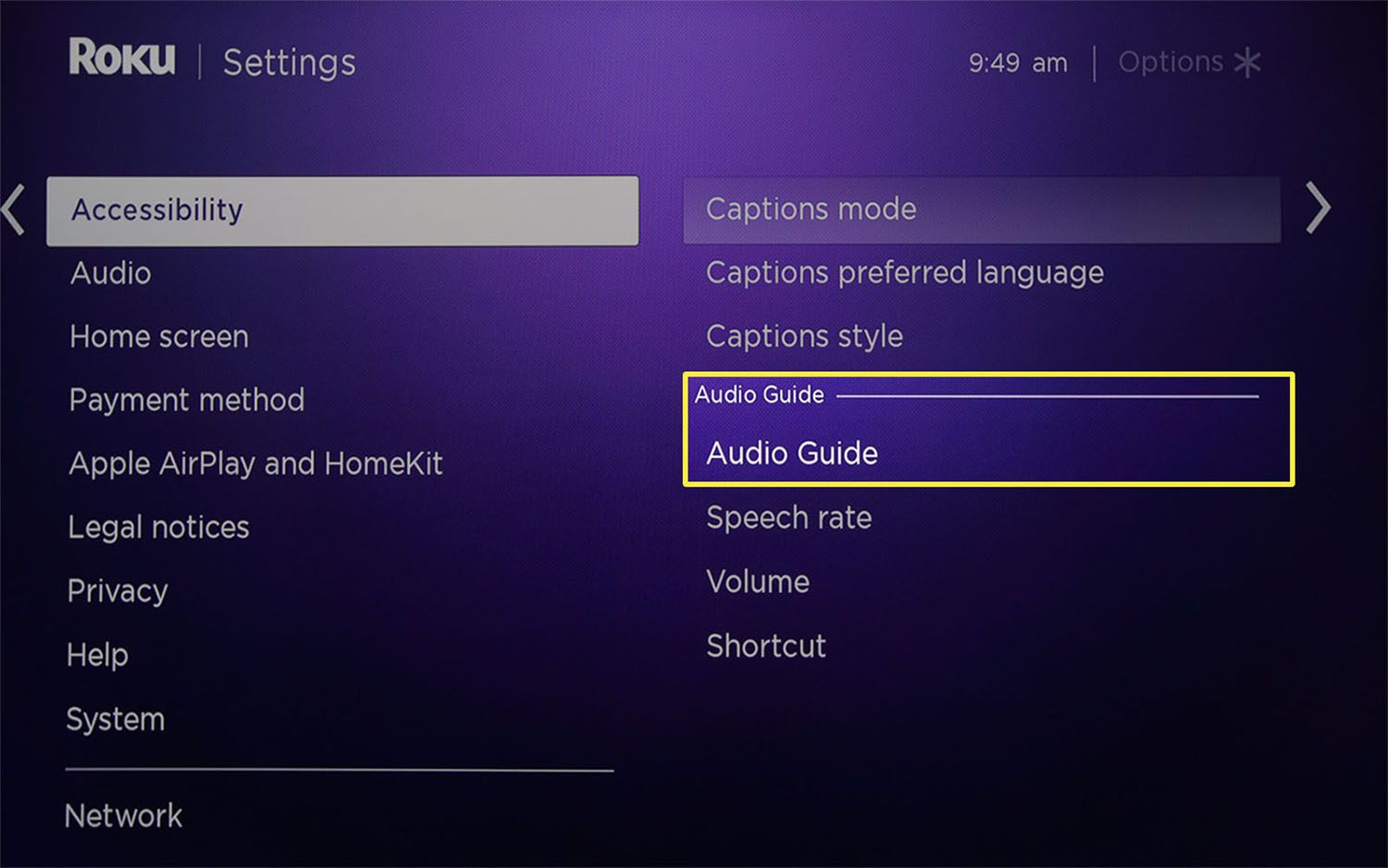 Audio Guide highlighted from the Audio Guide options in Roku Settings.