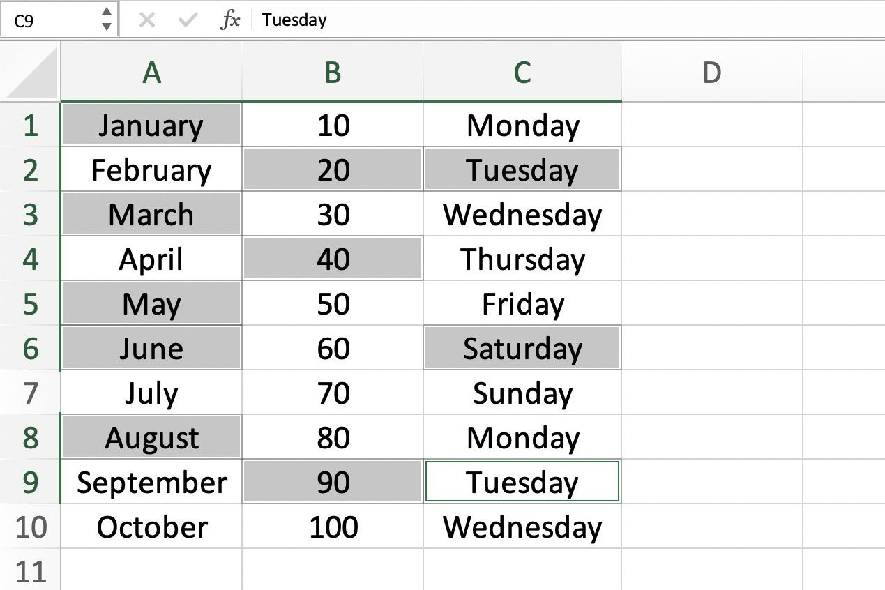 Screenshot of Excel showing selecting of cells with keyboard and mouse