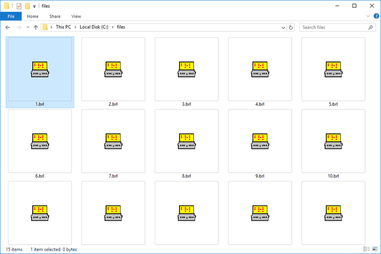 Screenshot of several BRL files in Windows 10