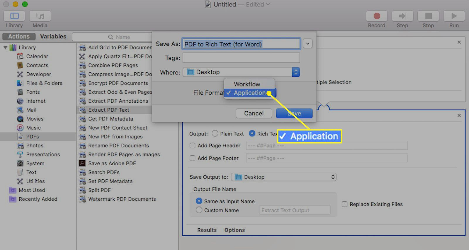 Automator application for Mac with Application selected as the file format