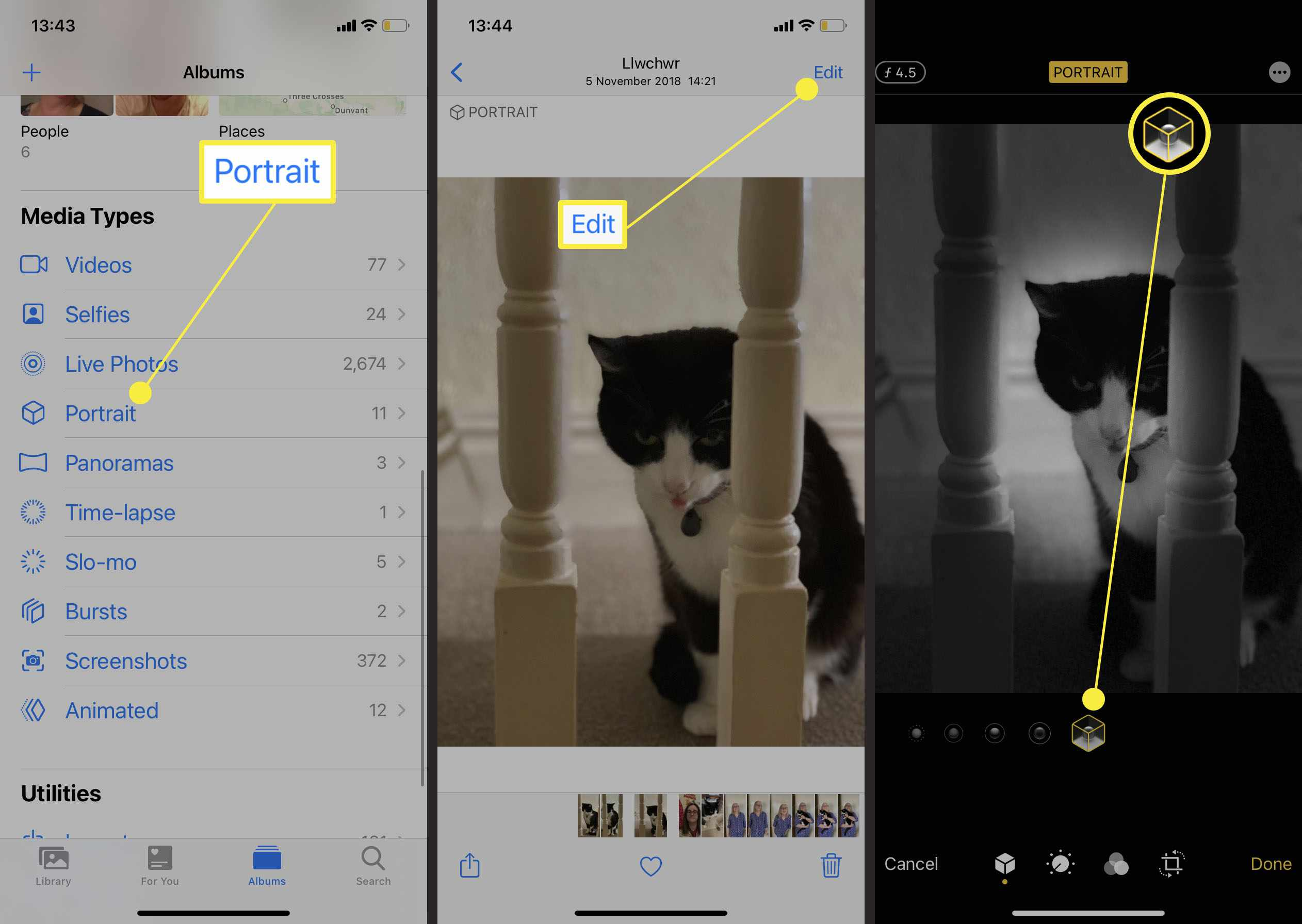 Steps required to adjust the background of an existing portrait photo on iPhone