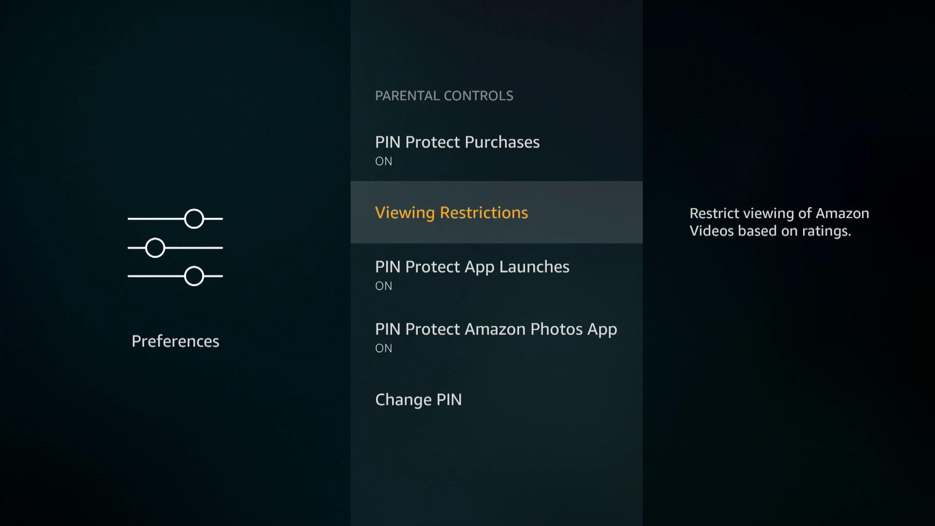 A screenshot of Firestick parental controls.