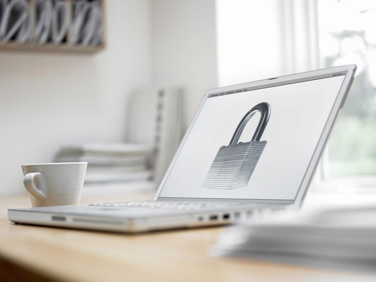 Padlock picture on laptop screen