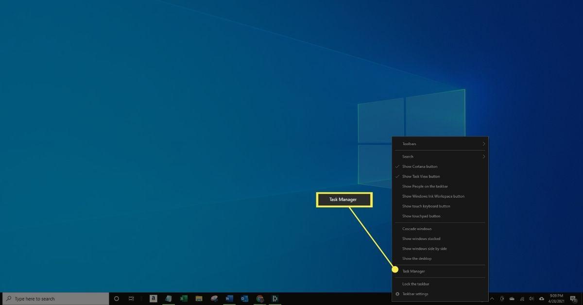 Task Manager in taskbar menu