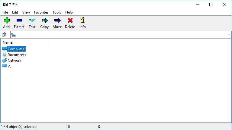 Screenshot of 7-Zip in Windows 10