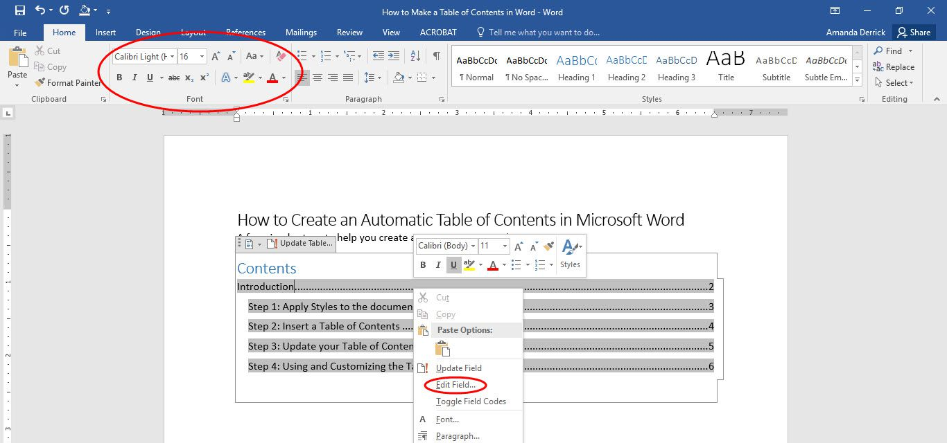 Microsoft Word Table of Contents can be customized with font options and  advanced controls