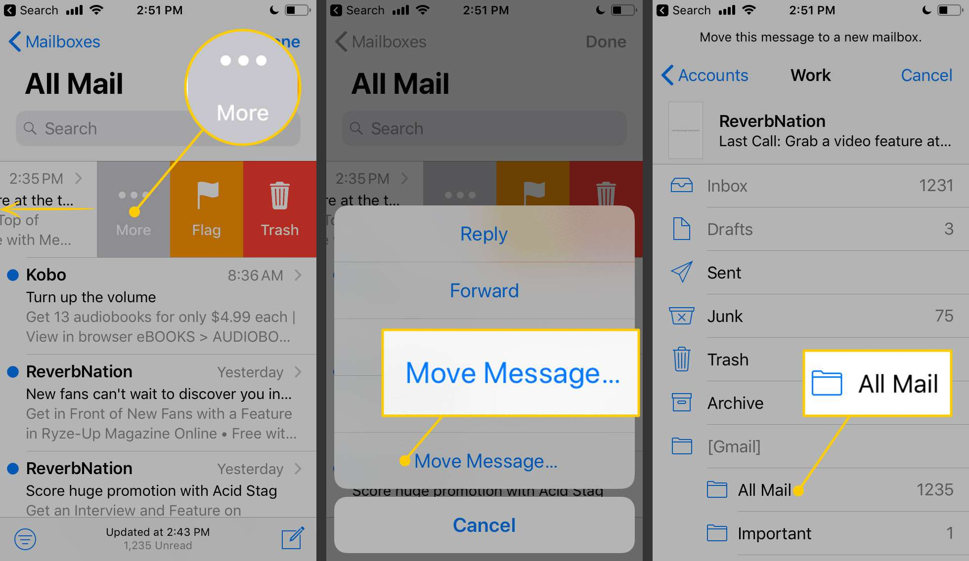 Swipe to move messages on an iPhone