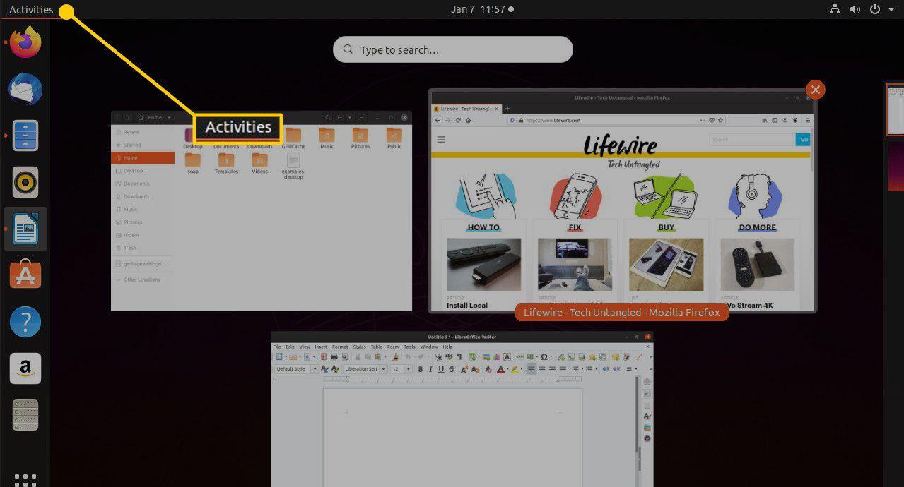 Activities button in Ubuntu