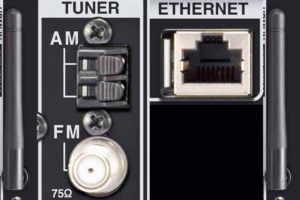Home Theater Receiver Ethernet/Antennas - Wi-Fi, Bluetooth, AM/FM ports
