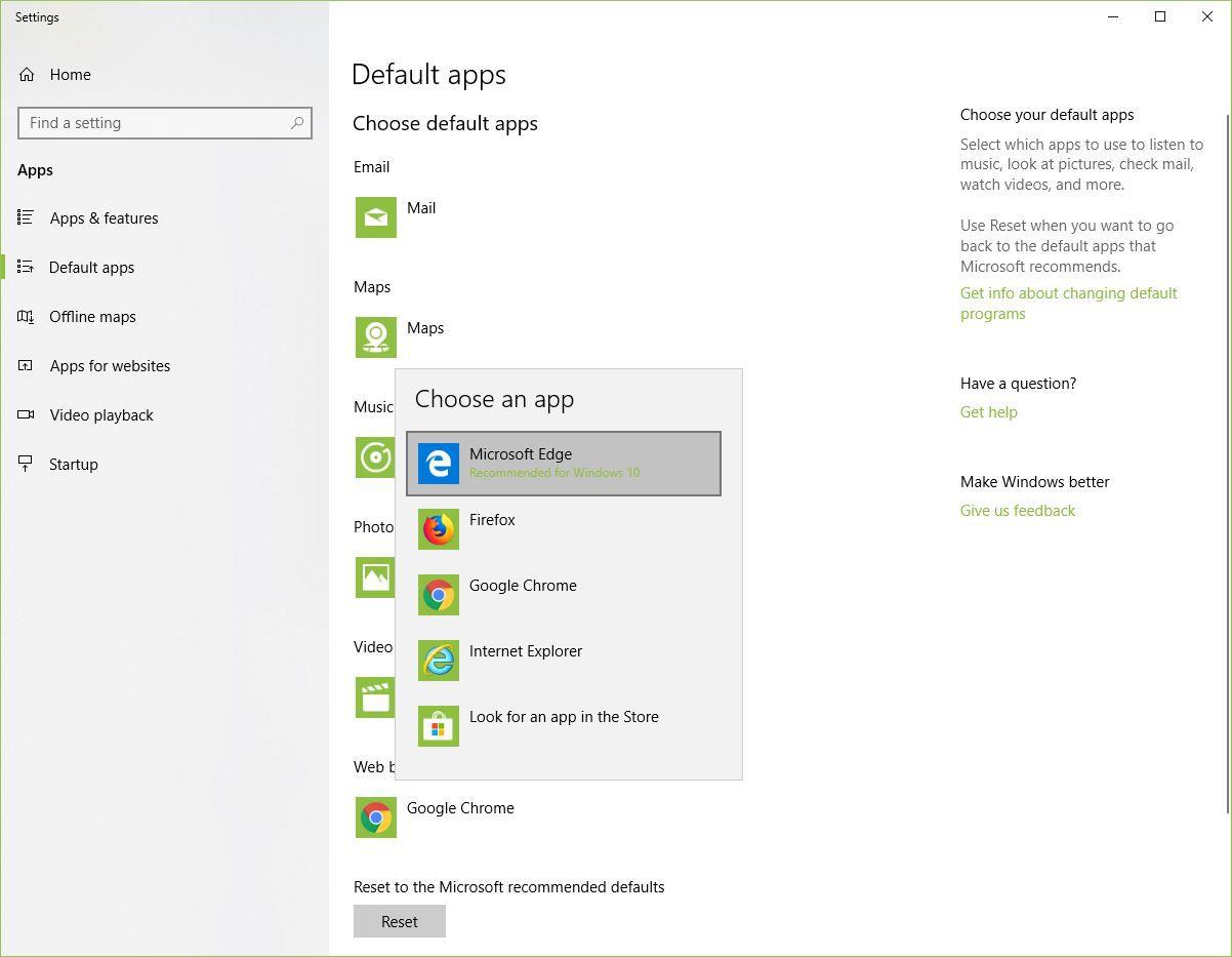 Screenshot of Choose an App menu