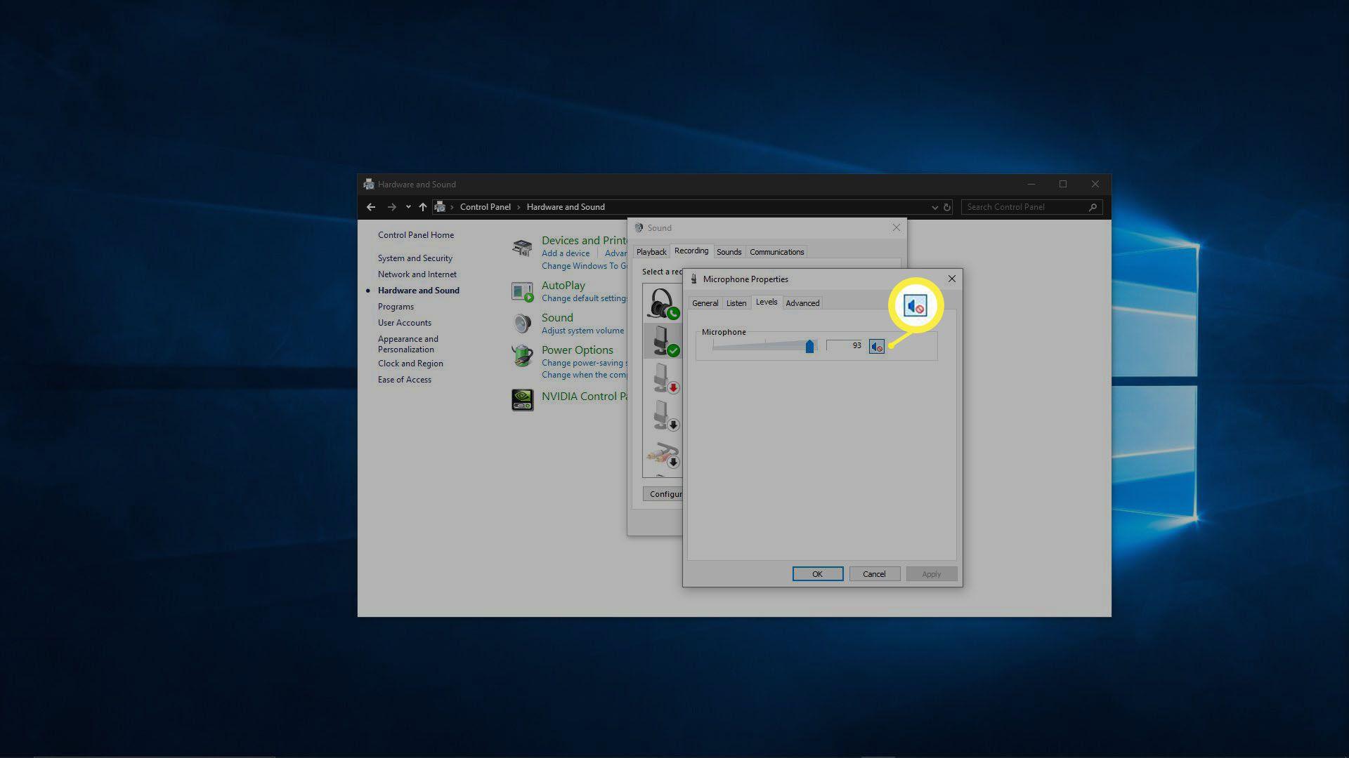 A screenshot of a muted microphone in Windows.