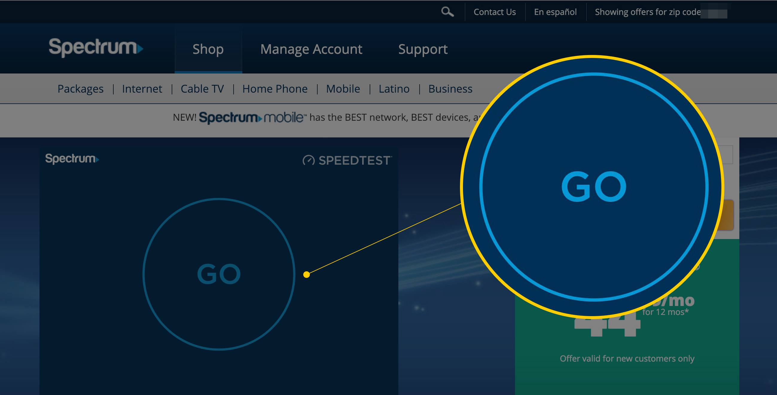 go button on spectrum charter speed test