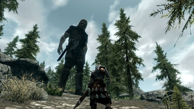 The game Skyrim's character size cheat screenshot