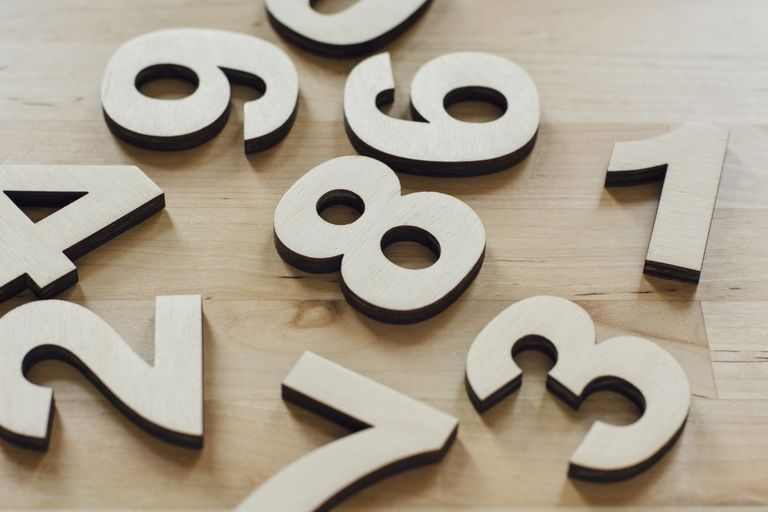 Wooden numbers on a table.
