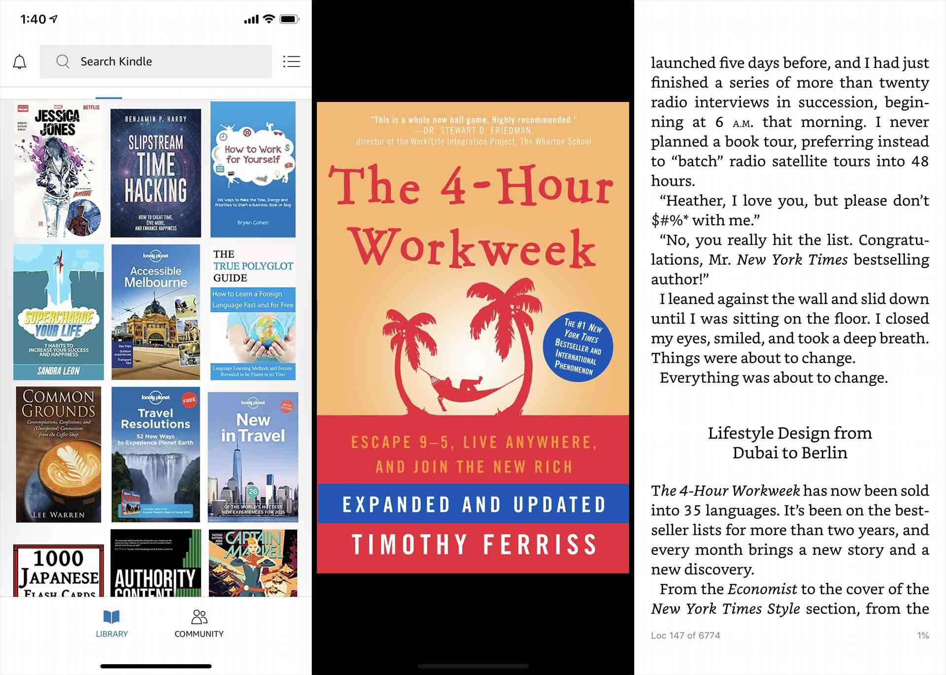 Amazon Kindle app on an iPhone XS.