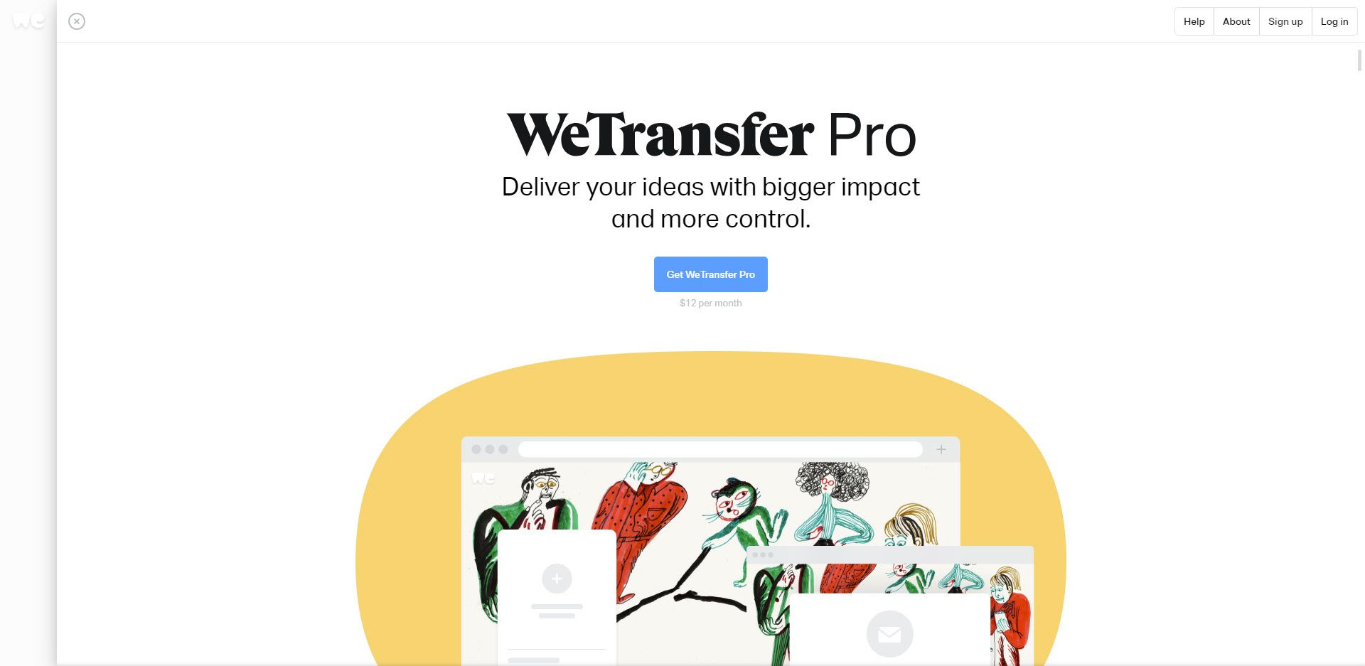 Screenshot of the WeTransfer Pro website.