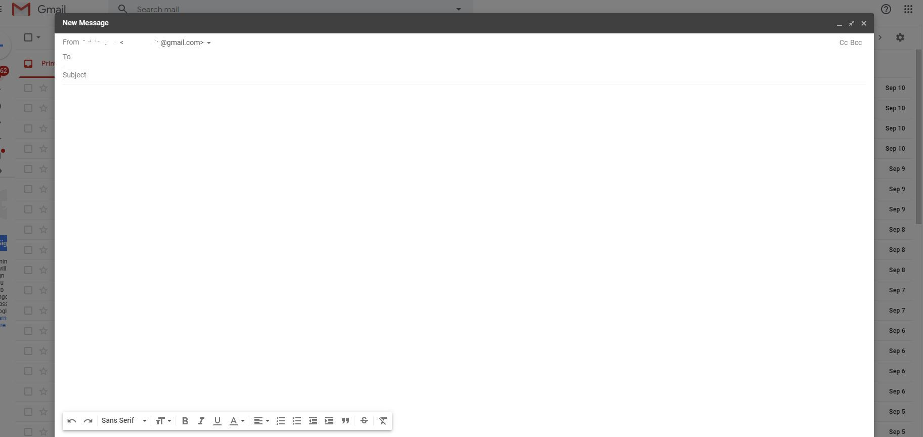 Screenshot of Compose in Gmail