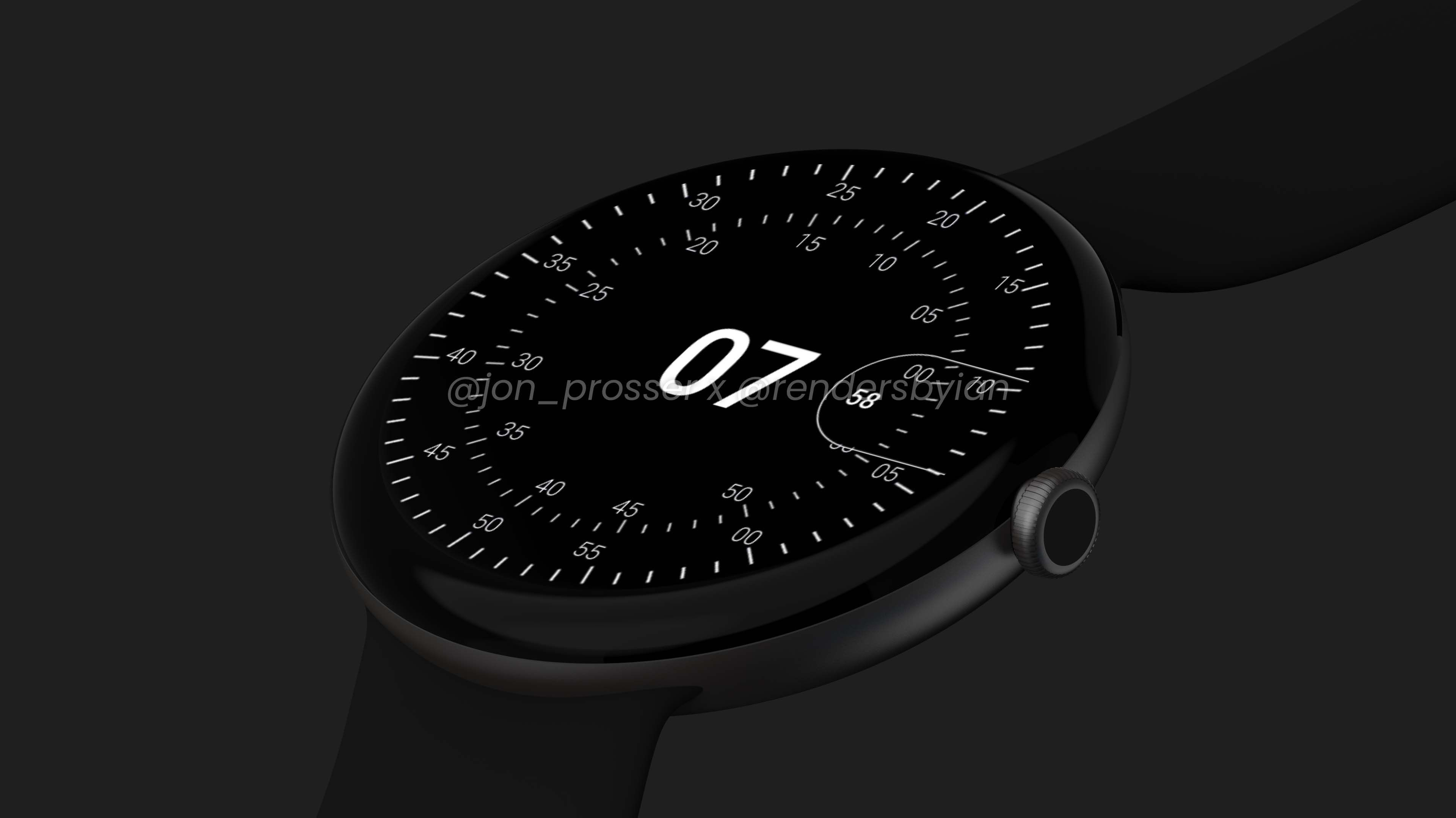 Google Pixel Watch render in black