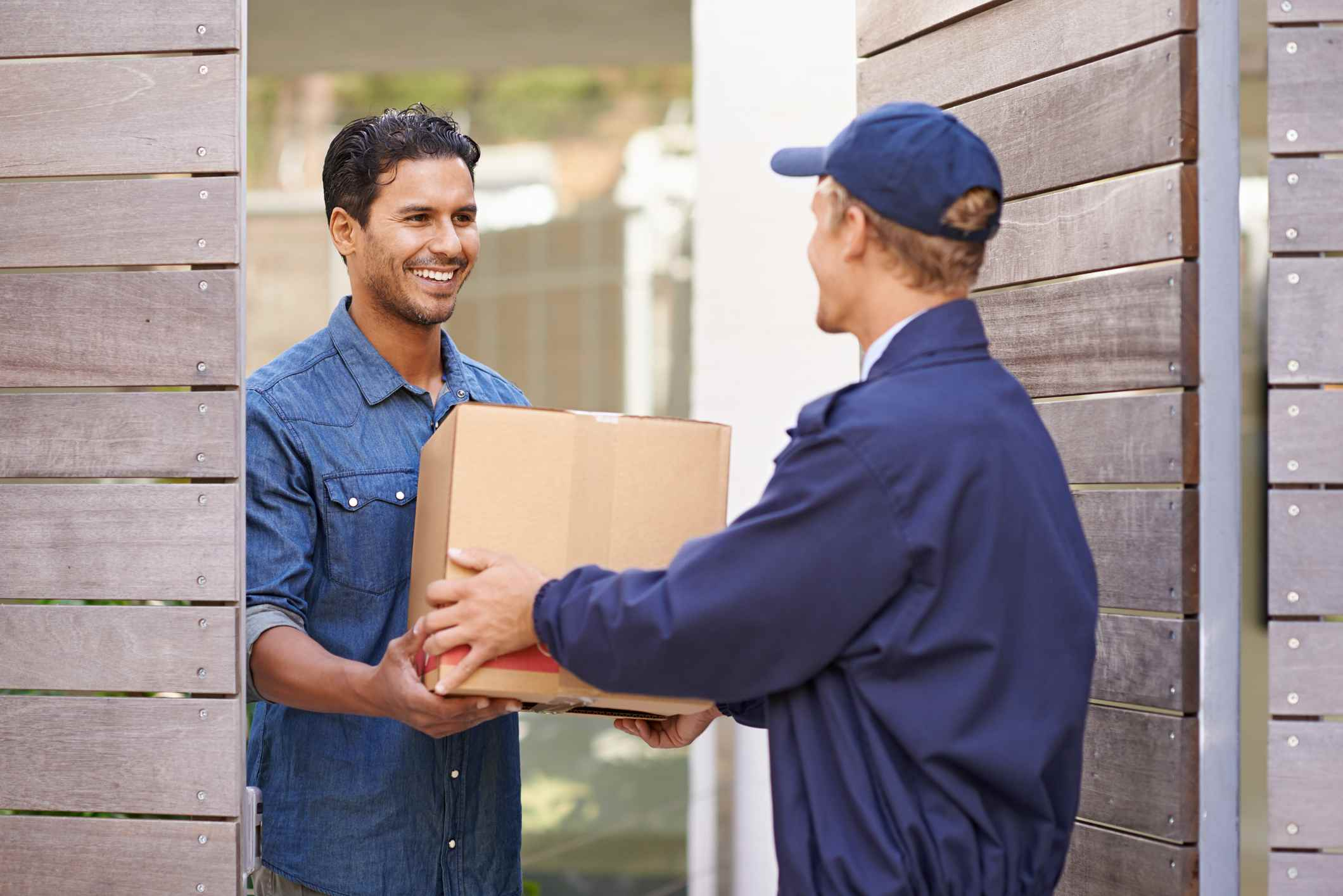 Delivering box to homeowner