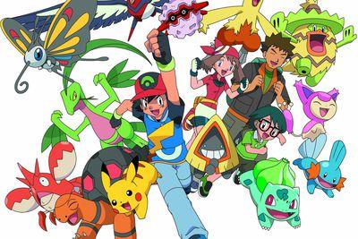 Ash, May, Brock, Max and their Hoenn Pokemon in Pokemon Season 9: Battle Frontier