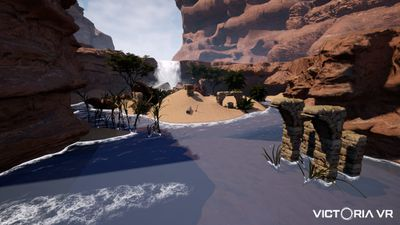 A beach setting within Victoria VR's virtual world